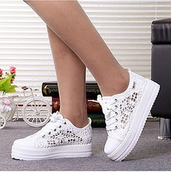 Lace Low Heeled Lace Criss Cross Round Toe Casual Sneakers online, fashion store,