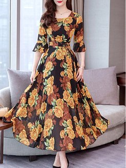 Round Neck Floral Printed Bell Sleeve Maxi Dress shoppers stop, clothes shopping near me, empire Maxi Dresses, long formal dresses, graduation dress