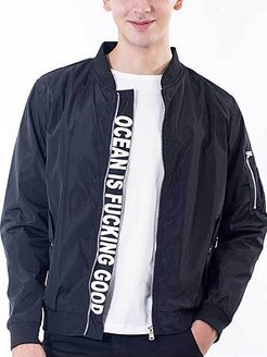Band Collar Flap Pocket Letters Bomber Jacket shoppers stop, online sale,