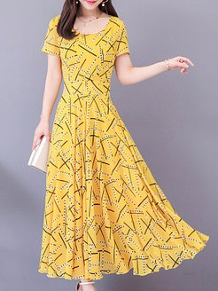 Round Neck Print Maxi Dress shop, clothing stores, printed Maxi Dresses, dresses for juniors, homecoming dresses