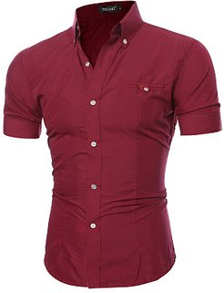 Turn Down Collar Patch Pocket Plain Short Sleeve Short Sleeves clothes shopping near me, online shop, Plain Men Shirts,