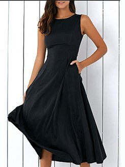 Round Neck Pleated Bodice Maxi Dress online sale, shoping, Oversized Maxi Dresses, long formal dresses, halter dress