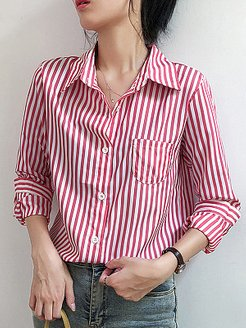 Turn Down Collar Striped Long Sleeve Blouse clothing stores, clothes shopping near me, dressy tops, red top