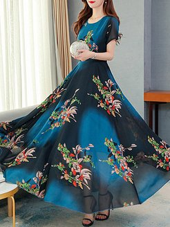 Round Neck Printed Maxi Dress stores and shops, shoping, printing Maxi Dresses, semi formal dresses, petite dresses