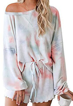 Tie-dye printed casual sports long sleeve shorts suit online, stores and shops, 2 piece outfits, two piece dress set