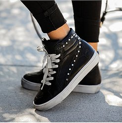 Fashion Women High Top Rivet Flat Sneakers shoping, clothing stores, splice Sneakers,