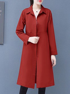 Temperament mid-length fold-down collar trench coat sale, clothes shopping near me, Long Trench Coats,