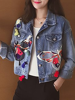 Single-breasted butterfly-embroidered denim jacket shop, online shop, printing Jackets, bubble coat, peacoat women