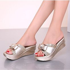 wedge heel comfortable bow slippers shoping, online,