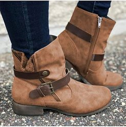 European and American flat retro boots sale, online shopping sites, Solid Flat Boots,