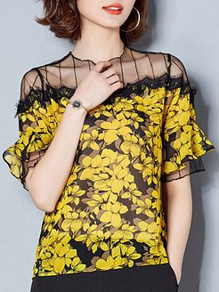 Round Neck Patchwork Floral Short Sleeve Blouse cheap online stores, online, silk blouse, dressy tops