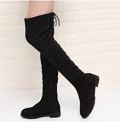 Fashion ladies pure color flat overknee boots sale, clothes shopping near me,