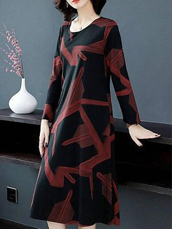 Mid-length Long Sleeve Over-the-knee Fat Dress shop, stores and shops, womens linen dresses, a line dress