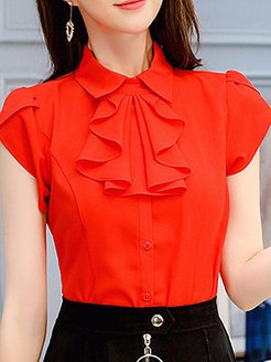 Turn Down Collar Plain Patchwork Short Sleeve Blouse clothing stores, online sale, dressy tops, red top