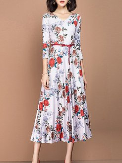 V-Neck Printed Maxi Dress clothing stores, shop, printing Maxi Dresses, wedding guest dresses, long formal dresses