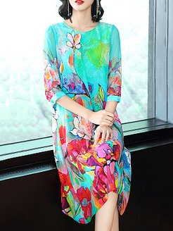 Round Neck Printed Shift Dress shoping, online sale, printing Shift Dresses, shift dress pattern, long sleeve dress