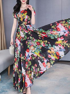Fashion Waist Short Sleeve Print Maxi Dress shoppers stop, shoping, Short Maxi Dresses, long sleeve maxi dress, black long sleeve dress