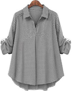 Turn Down Collar Plaid Long Sleeve Blouse cheap online stores, shoping, lace top, black top