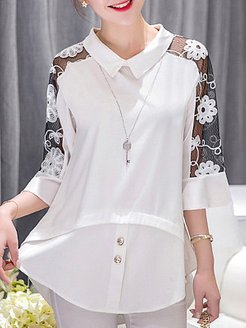 Turn Down Collar Patchwork Lace Three-quarter Sleeve Blouse online, clothes shopping near me, splice Blouses, white blouses for women, dressy tops