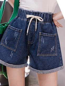 2020 summer new elastic high waist Korean version of loose and wild plus size women's clothing plus fertilizer to increase denim shorts women online shopping sites, clothing stores,