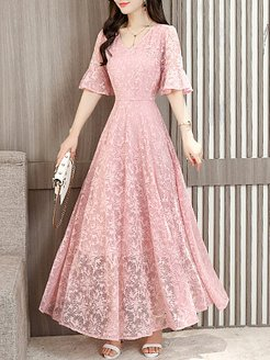 V-Neck Lace Plain Maxi Dress clothes shopping near me, online, Solid Maxi Dresses, halter dress, long sleeve dress