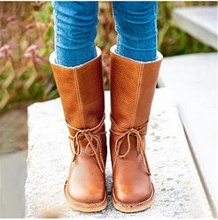 Fashion Round Toe Laced Snow Boots cheap online shopping sites, clothing stores, Solid Flat Boots,