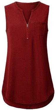 V Neck Zips Sleeveless T-shirt shoppers stop, clothing stores,