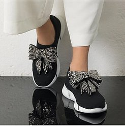 Fashion Women Rhinestone Bow Breathable Sneakers clothes shopping near me, sale, splice Sneakers,