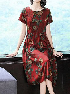 Round Neck Floral Printed Shift Dress clothing stores, cheap online stores, printing Shift Dresses, below the knee dresses, floral shift dress