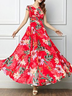 Round Neck Printed Maxi Dress cheap online stores, clothes shopping near me, printing Maxi Dresses, lace maxi dress, long formal dresses