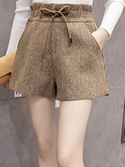 Autumn and winter new lace-up high waist plus size woolen shorts shoping, sale,