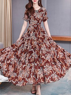 Round Neck Printed Maxi Dress shoppers stop, sale, Floral Maxi Dresses, maxi dresses with sleeves, a line dress