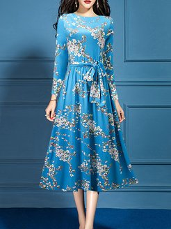 Round Neck Printed Maxi Dress online, clothes shopping near me, printing Maxi Dresses, dresses for juniors, tunic dress