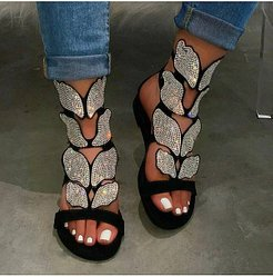Flat Butterfly Rhinestone Sandals online shopping sites, sale,