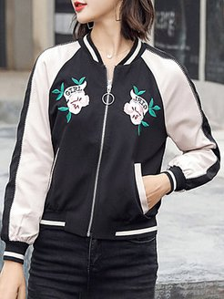 Short color-block embroidered jacket with zipper online shop, clothing stores, leather jacket with fur, jean jacket with fur