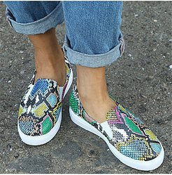 Sportive style ladies snakeskin flat loafers sneakers stores and shops, shop,