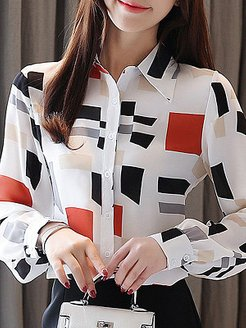 Turn Down Collar Print Long Sleeve Blouse cheap online shopping sites, online, printing Blouses, white blouses for women, red top