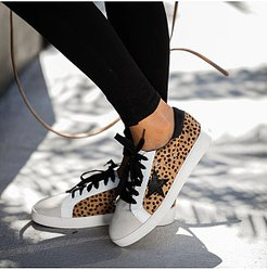 Casual Flat Women Leopard Star Lace-up Sneakers clothing stores, sale, Leopard Sneakers,