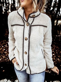 Casual Fashion Stand Collar Long Sleeve Button Jacket online stores, shop, black coat womens, womens winter parka