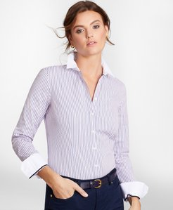Petite Non-Iron Tailored-Fit Striped Cotton Dobby Shirt