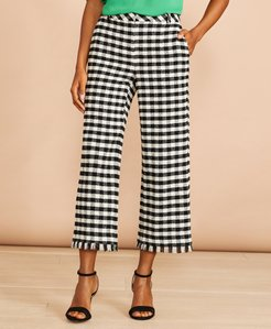 Gingham Boucle Cropped Pants