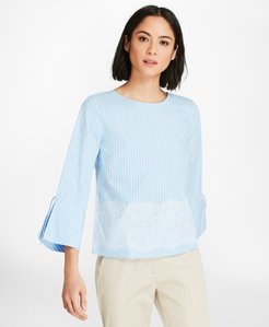 Lace-Trimmed Striped Cotton Poplin Bell-Sleeve Blouse