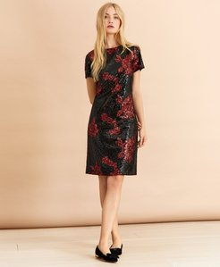 Floral Sequined Shift Dress