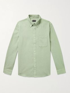 Button-Down Collar Waffle-Knit Cotton Shirt - Men - Green