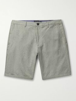 Maddox Pinstriped Linen and Cotton-Blend Shorts - Men - Green