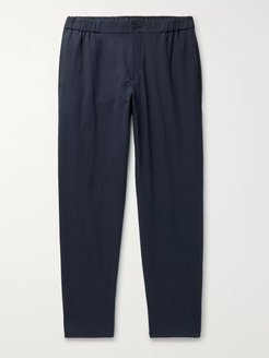 Lex Tapered Textured Cotton-Blend Trousers - Men - Blue