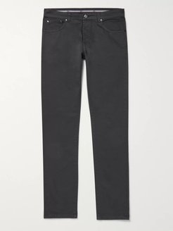Slim-Fit Stretch-Denim Jeans - Men - Gray