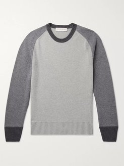 Ethan Colour-Block Cashmere and Merino Wool-Blend Sweater - Men - Gray
