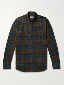 Button-Down Collar Checked Brushed-Cotton Shirt - Men - Green