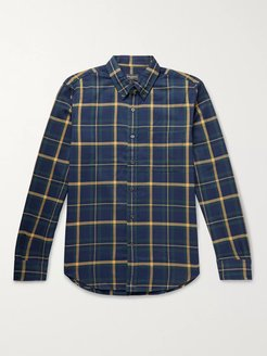 Slim-Fit Button-Down Collar Checked Cotton-Twill Shirt - Men - Blue